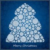 Árbol de navidad estilizado del verde del diseño de las bolas de la Navidad Fotos de archivo libres de regalías