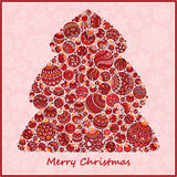 Árbol de navidad estilizado del verde del diseño de las bolas de la Navidad Fotografía de archivo libre de regalías