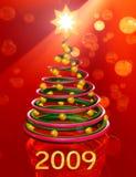 Árbol de navidad - Feliz Año Nuevo 2009 stock de ilustración