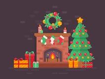 Árbol de navidad festivo y tarjeta plana adornada de la chimenea ilustración del vector