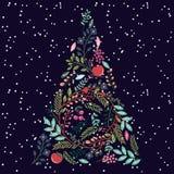 Árbol de navidad floral o botánico Fotos de archivo libres de regalías