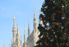 Árbol de navidad grande delante de la catedral de Milano en backgro Fotografía de archivo