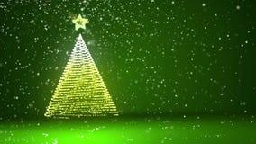 Árbol de navidad grande verde de partículas brillantes del resplandor en el lado izquierdo Tema del invierno para el fondo de Nav stock de ilustración