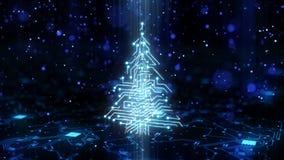 Árbol de navidad HD del circuito de la tecnología ilustración del vector