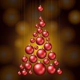 Árbol de navidad hecho de bolas rojas stock de ilustración