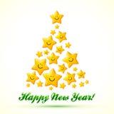 Árbol de navidad hecho de las estrellas amarillas sonrientes Imagen de archivo libre de regalías