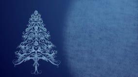 Árbol de navidad hecho de modelo del hielo en luces festivas en un fondo azul stock de ilustración