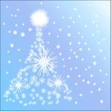 Árbol de navidad hecho de nieve Imagen de archivo libre de regalías