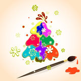 Árbol de navidad hecho de puntos multicolores de la pintura en el papel, los copos de nieve y cepillo con la pintura Ejemplo del  fotografía de archivo