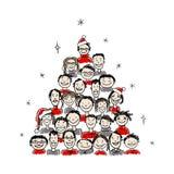 Árbol de navidad hecho del grupo de personas para su Fotos de archivo libres de regalías