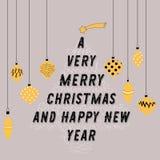 Árbol de navidad hecho del texto Bolas amarillas decorativas que lo cuelgan alrededor Ejemplo del vector en fondo gris Un Chr muy Foto de archivo