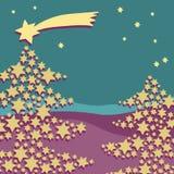 Árbol de navidad hecho de estrellas con el vuelo grande de la estrella arriba Ejemplo del vector en la turquesa y el fondo púrpur Imagen de archivo libre de regalías