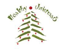 Árbol de navidad hecho de las hojas y de las bayas del helecho en el fondo blanco Imagen de archivo