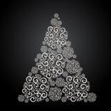 Árbol de navidad hermoso, copia-espacio para el texto Ejemplo blanco y negro stock de ilustración