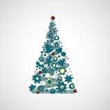 Árbol de navidad hermoso en un fondo ligero Fotografía de archivo libre de regalías
