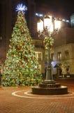 Árbol de navidad iluminado adornado Virginia Foto de archivo libre de regalías