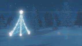 Árbol de navidad iluminado en el bosque del invierno ilustración del vector