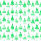 Árbol de navidad de la acuarela Fondo del árbol de navidad de la acuarela Modelo inconsútil foto de archivo libre de regalías