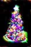 Árbol de navidad de las luces del color Foto de archivo libre de regalías