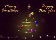 Árbol de navidad ligero con las bolas de la Navidad, los copos de nieve y la guirnalda luminosa Fotografía de archivo