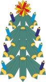 Árbol de navidad de los creyones coloreados ilustración del vector