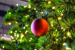 Árbol de navidad Malla y juguetes, bolas y otras decoraciones en la Navidad Imagen de archivo libre de regalías