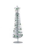 Árbol de navidad moderno de plata aislado en el fondo blanco Foto de archivo