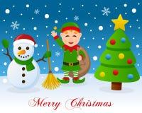 Árbol de navidad, muñeco de nieve lindo y duende verde ilustración del vector