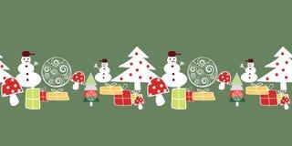 Árbol de navidad, muñeco de nieve, presentes y decoraciones blancos, rojos y amarillos en modelo inconsútil de la frontera verde  libre illustration