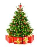 Árbol de navidad natural rústico con los regalos Imagen de archivo libre de regalías