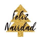 Árbol de navidad de oro adornado logotipo de la chispa de la Feliz Navidad Bandera, tarjeta, enhorabuena, logotipo Inscripción en Imagen de archivo libre de regalías
