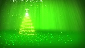 Árbol de navidad de partículas brillantes del resplandor en la izquierda en tiro granangular Tema del invierno para el fondo de N ilustración del vector