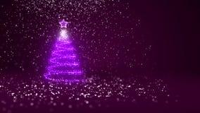 Árbol de navidad de partículas brillantes del resplandor en la izquierda en tiro granangular Tema del invierno para el fondo de N libre illustration