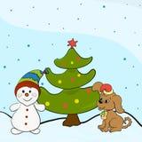 Árbol de navidad, perrito y muñeco de nieve