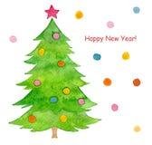 Árbol de navidad pintado acuarela Foto de archivo