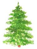 Árbol de navidad pintado a mano de la acuarela Foto de archivo