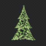 Árbol de navidad de plata en fondo transparente Foto de archivo libre de regalías