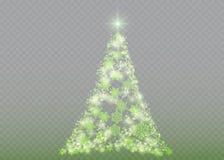 Árbol de navidad de plata en transparente Imagenes de archivo