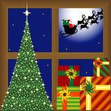 Árbol de navidad, presentes y Papá Noel stock de ilustración