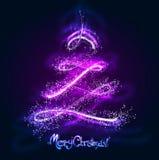 Árbol de navidad que brilla intensamente Foto de archivo libre de regalías