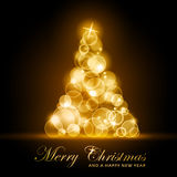Árbol de navidad que brilla intensamente de oro stock de ilustración