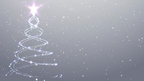 Árbol de navidad que cae de la nieve del fondo de la Navidad blanca almacen de video