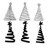 Árbol de navidad que pinta la tinta negra doodle Foto de archivo libre de regalías