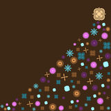 Árbol de navidad retro con las flores de la vendimia Fotografía de archivo