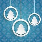 Árbol de navidad Ring Blue Background Ornaments ilustración del vector