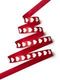Árbol de navidad rojo de la cinta Imagen de archivo libre de regalías
