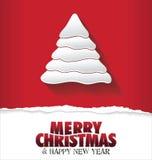 Árbol de navidad rojo del fondo de la Feliz Navidad Foto de archivo