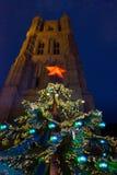 Árbol de navidad rojo de la estrella Imágenes de archivo libres de regalías