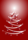Árbol de navidad rojo y blanco con los ornamentos Fotografía de archivo libre de regalías