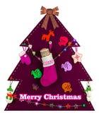 Árbol de navidad rosado con los juguetes hechos a mano 2017 Imágenes de archivo libres de regalías